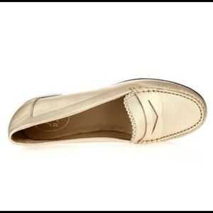 Jack Rodgers gold loafers, size 9M